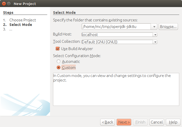 New project dialog window 2 step.